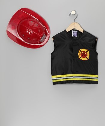 Black Firefighter Vest & Red Hat - Toddler & Girls