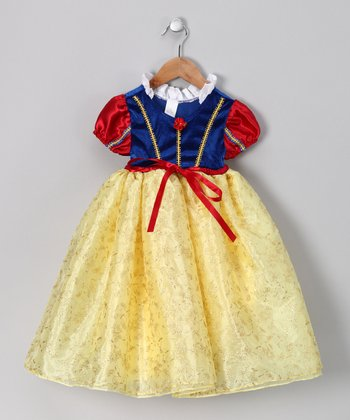 Yellow & Blue Princess Puff-Sleeve Dress - Toddler & Girls
