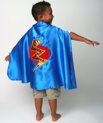 Blue & Red Lightning Bolt Satin Cape