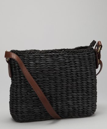 Straw Studios Black Square Woven Crossbody Bag