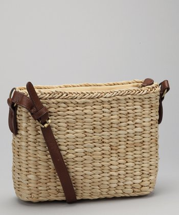 Straw Studios Natural Square Woven Crossbody Bag