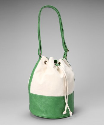 Green & White Bucket Bag