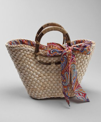Natural Ribbon Basket Tote