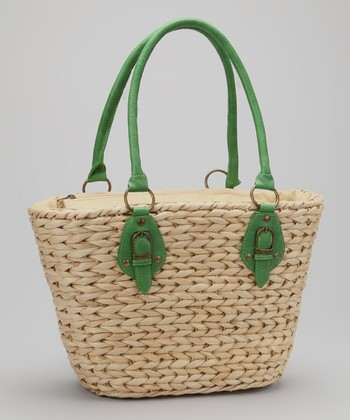 Straw Studios Natural & Green Woven Straw Tote
