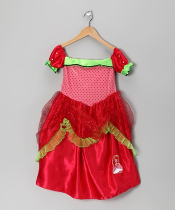 Red & Pink Strawberry Shortcake Dress - Girls