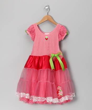 Pink & Red Strawberry Shortcake Dress - Girls