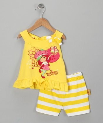 Yellow Strawberry Shortcake Ruffle Top & Shorts - Toddler