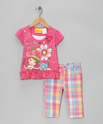 Pink Plaid 'Berry' Tee & Capri Pants - Girls