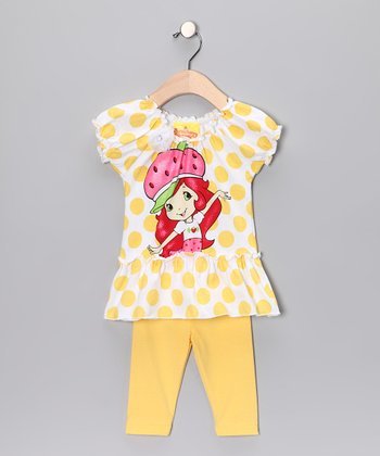 Yellow Polka Dot Strawberry Tunic & Leggings - Toddler & Girls