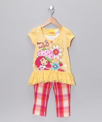 Yellow & Red Plaid Skirted Tunic & Pants - Girls
