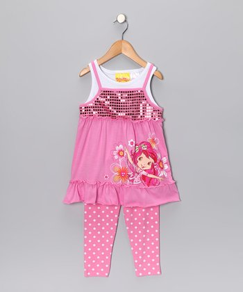Pink Strawberry Shortcake Layered Tunic & Leggings - Girls