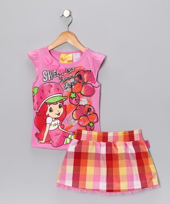 Pink Plaid 'Sweetest' Cap-Sleeve Tee & Skirt - Girls