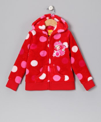 Red Polka Dot Zip-Up Hoodie - Girls