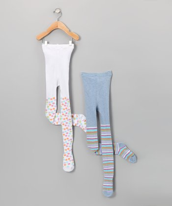 Blue & White Stripe Floral Tights Set