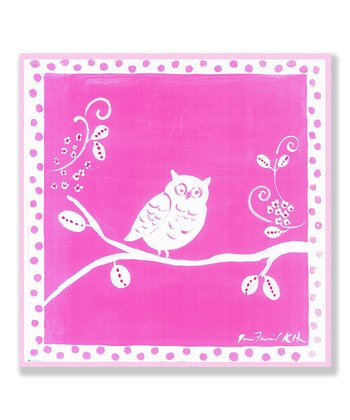 Pink & White Owl Plaque