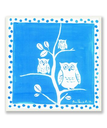 Blue & White Owl Plaque