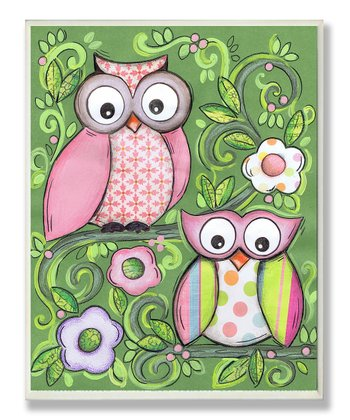 Green Owl Pair Plaque