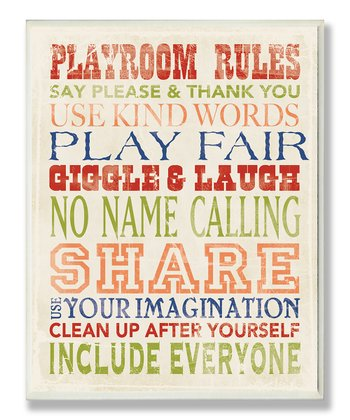 'Playroom Rules' Typography Wall Art