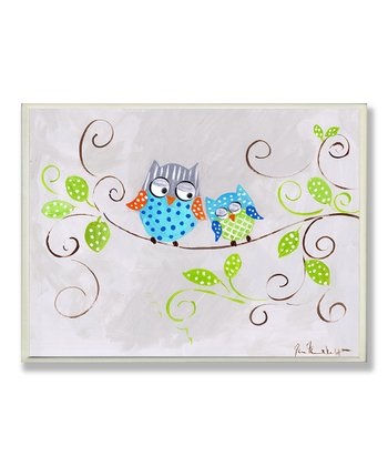 Blue Polka Dot Owl Wall Art