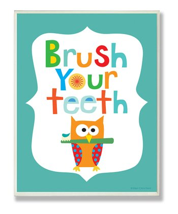 Blue 'Brush Your Teeth' Wall Art