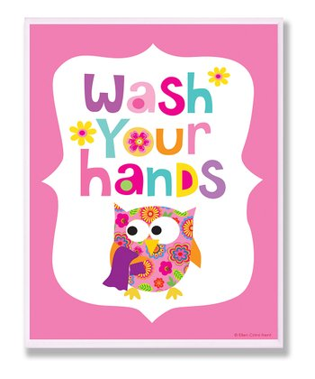 Pink 'Wash Your Hands' Wall Art