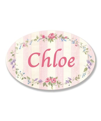 Pink Stripe Personalized Oval Wall Art
