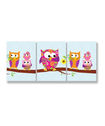 Owls Wall Art Set