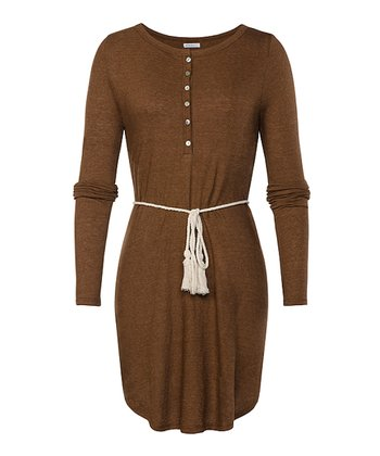 Cappuccino Tie-Waist Shad Henley Dress - Women