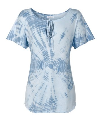Blue Alligator Tie-Dye Baja Tee - Women