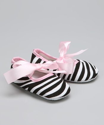 Pink Zebra Booties - Infant