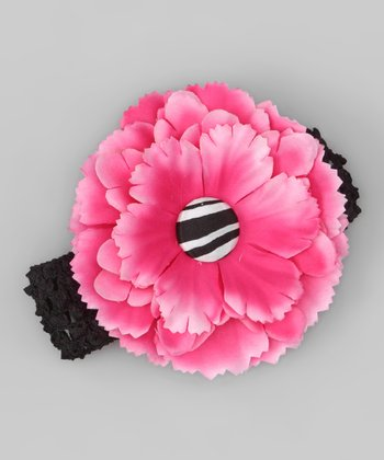 Hot Pink & Zebra Flower Headband