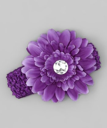 Purple Rhinestone Flower Headband