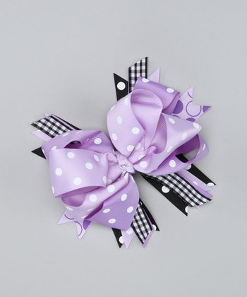 Purple Polka Dot Bow Clip