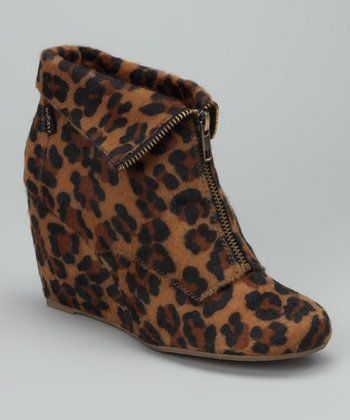 Brown Leopard Uplift Wedge Bootie