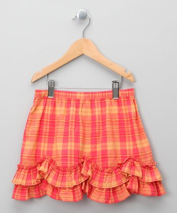 Coral Plaid Ruffle Skirt - Infant, Toddler & Girls