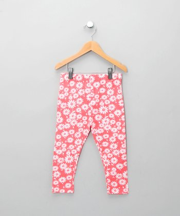 Coral Daisy Leggings - Infant, Toddler & Girls