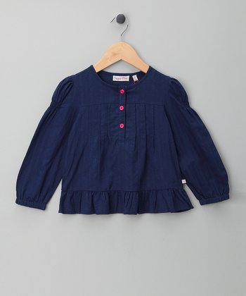 Navy Pleated Swing Top - Infant, Toddler & Girls