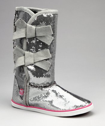 Silver Sequin Bow Boot