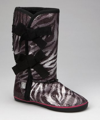 Zebra Sequin Boot