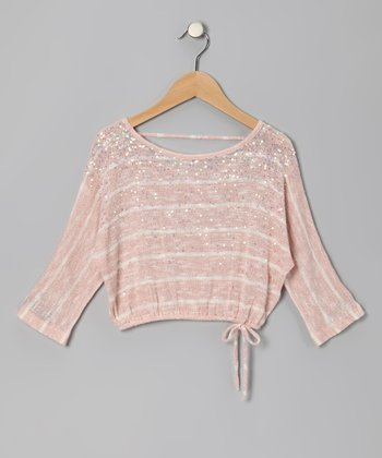 Pink Stripe Glitter Crop Top - Girls