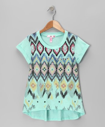 Mint Tribal Hi-Low Tee