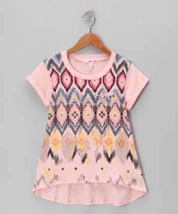 Rose Tribal Hi-Low Tee