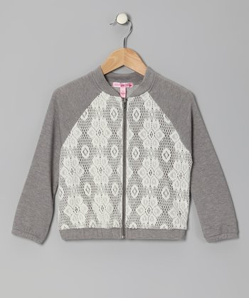 Gray Lace Raglan Zip-Up Jacket