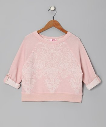 Peach Lace Sweatshirt