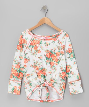 White Rose Tie Top - Girls