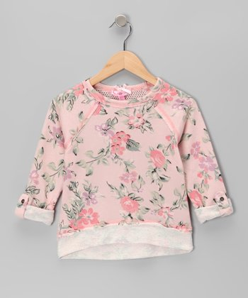 Pink Rose Mesh-Back Top - Girls
