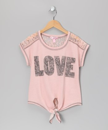 Peach 'Love' Tie Top