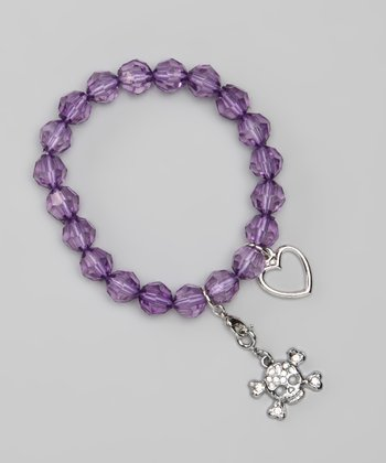 Purple Skull Stretch Charm Bracelet