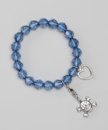 Blue Skull Stretch Charm Bracelet