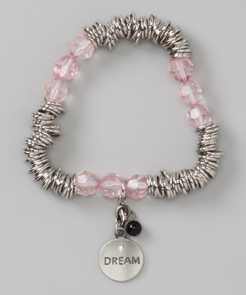 Pink & Silver 'Dream' Stretch Charm Bracelet